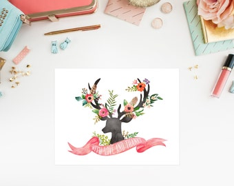 Instant Download - Bohemian Stag Thank You Folded Note Card