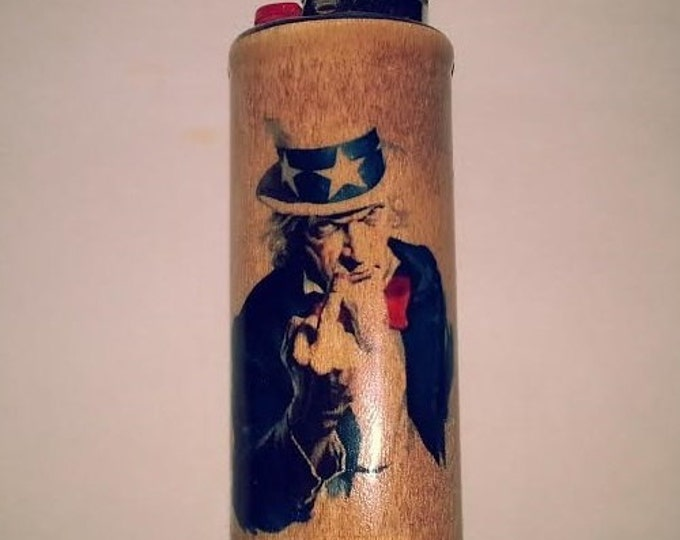Uncle Sam Flipping Off Giving Bird BIC Lighter Case Holder Sleeve Cover