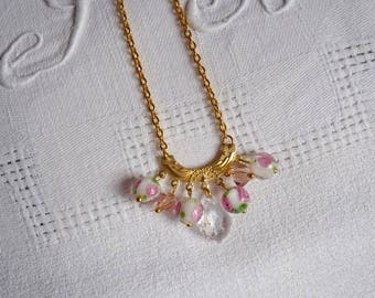 Necklace feminine and delicate Crystal and pearls