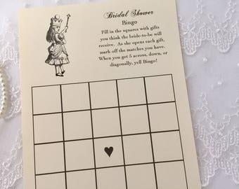 Alice in Wonderland Bingo Cards, Alice Bridal Shower Bingo Cards, Alice Game Cards, Set of 10