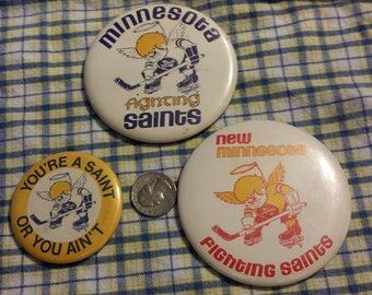 Very rare Minnesota Fighting Saints hockey pinback buttons