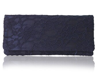 Navy lace ASTRID simple clutch purse, bridesmaids, mother of the bride