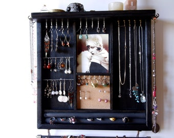 Jewelry holder. earrings display with shelf. Black jewelry storage. Wooden wall mounted organizer. Vintage photo on necklace holder .