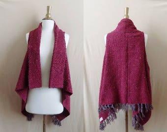 Burgundy Vest- Boho Fringe- Bohemian Clothing- Handmade Vest- Poncho- Tribal Clothing- Bohemian Top- Boho- Hippy Boho- Drug Rug