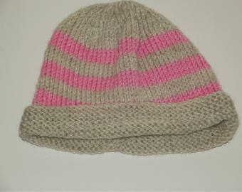 Handmade pink and beige striped Knitted baby girls Hat 3-6 months, Knitted Baby girls Hat - Unique