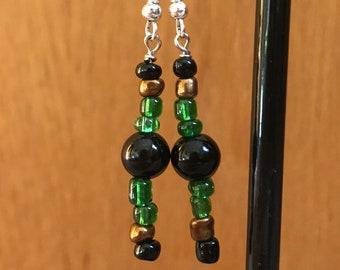 Green and Black Drop Earrings, Green Black Beaded Drop Earrings, Green Black Brown Earrings, Green Black Earrings, Beaded Earrings Green