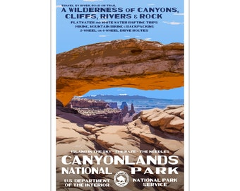 "Canyonlands National Park WPA style poster. 13"" x 19"" Original artwork, signed by the artist.Free Shipping !"