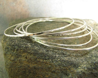 Smooth and Hammered Skinny Sterling Silver Bangle Bracelets Set of 6