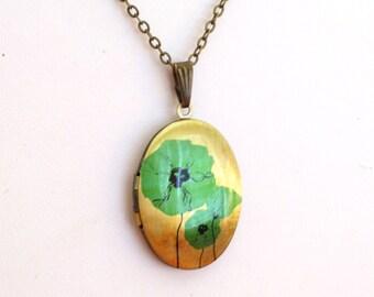 Turquoise Blue Poppy Locket, Oval Brass Art Locket Necklace, Aqua Floral Locket, Flower Locket, Boho Jewelry, Antiqued Brass Chain