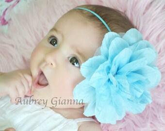 Baby Headband, XL aqua blue flower headband,Baby headband, newborn headband, infant headband, baby hair bow, large flower headband