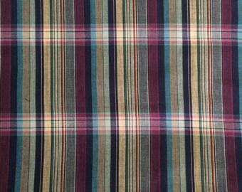 Plaid Fabric / Purple Plaid Fabric / Vintage Fabric / Quilting Fabric / Cotton Blend Fabric / Vintage Plaid Fabric / Vintage Stripe Fabric