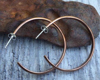 """Simple Raw Copper Hoops - Large Minimalist Open Hoop Post Earrings for Everyday Wear - 1.5"""" or Custom Sizes Available"""