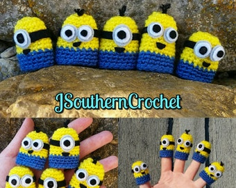 Crochet Finger puppets inspired by Minions, 5 pc set, play set, great gift for kids!