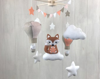 Baby mobile - fox mobile - hot air balloon mobile - clpud mobile - star mobile - nursery mobile - baby crib mobiles