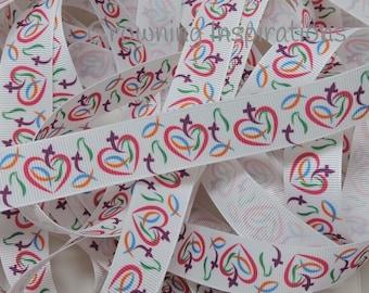 7/8 Christian Heart Dove Fish US Designer ribbon