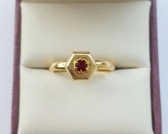 Vintage Garnet and gold vermeil ring - modernist adjustable silver boho retro