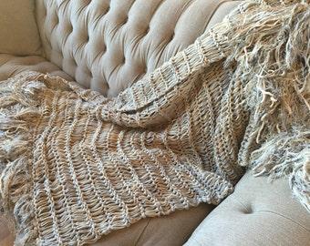 Long Afghan Knit with Ivory, Grey, Cream, Tan, Beige Blanket Fringe Throw Blanket