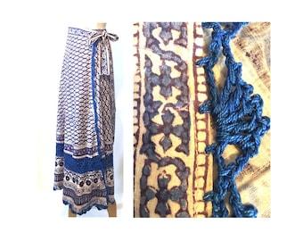 Vintage 70s Hippie Wrap Skirt S M Crochet Hand Blocked Print NOS