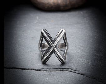 OUTCAST silver X ring
