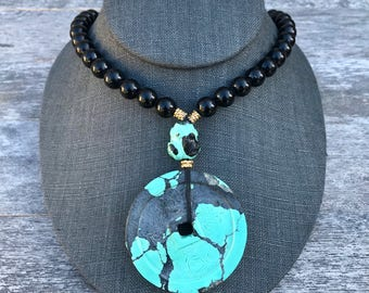 Giant Cloud Mountain Turquoise and Onyx Coin Necklace - Vintage