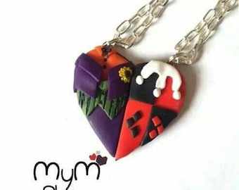 heart couple necklaces harley quinn and joker kawaii love friendship clay cute batman dc comics guason