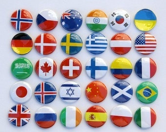 Flags Of The World - Set of 30 Magnets 1 inch