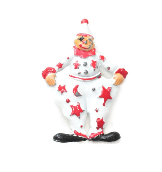 Vintage Circus Clown Pin Red and White Enamel Happy Clown Brooch