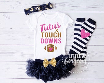 Baby Girl Football, Baby Girl Onesie, Tutus Touchdowns Onesie, Football Outfit, Thanksgiving Outfit, Girls Fall, Halloween, ONESIE ONLY