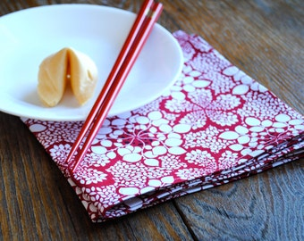 Lucky Red Napkins SET of 4 - Dinner Table Decor - Lotus Leaf White Red Food Napkins - Hostess Favours for the Chinese New Year