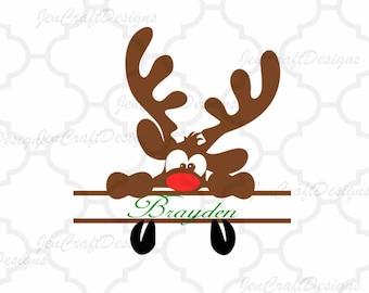 Peeking Reindeer Monogram Svg, Split Monogram Christmas Peeping Reindeer SVG,EPS Png Dxf,digital download files for Silhouette Cricut
