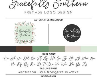 Rustic Cotton Southern Logo & Watermark Premade Design - Custom Business Branding / Personal Name Text Graphics - Alternates Included