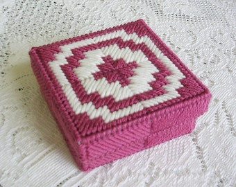 Handmade Pink White Needlepoint Trinket Box - Bargello Gift Box - Small Jewelry Box - Handmade Catch All - Plastic Canvas Box