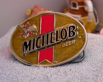 Vintage 1980s Michelob Beer (Anheuser-Busch) Belt Buckle -Enamel and Metal