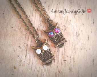 Owl Necklace Antique Brass Owl Necklace Swarovski Crystal Owl Charm Necklace Woodland Necklace Mother's Day Gift For Her