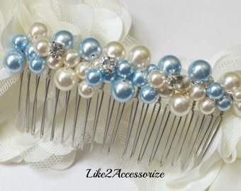 Wedding Hair Pearl Comb Bridal Hair Accessories Bridal Comb Wedding Headpiece Someting Blue Comb White Ivory Pearl Comb Veil Attachment Comb