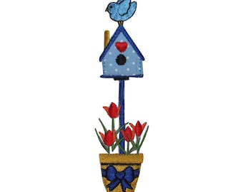 ID 3110 Bird House In Flower Pot Patch Garden Home Embroidered Iron On Applique