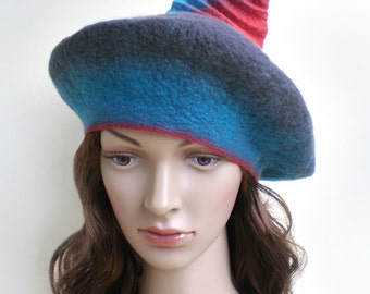 Wool Beret Unusual Grey Hat with Blue and Red Shades, Womens Felted Beret, Boho Hat, Crazy Hat, Ladies Beret Hat, Can Be Worn in Many Ways