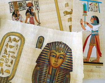 Egyptian Papyrus Paintings, Hand Painted Papyrus, Vintage Collection, Hand Made Paper Scroll, King Tut Pharaoh, Ancient Egypt, Hieroglyphics