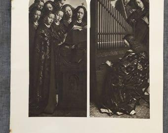 Van Eyck. Anges chantant et jouant. 1920 ' s antiques