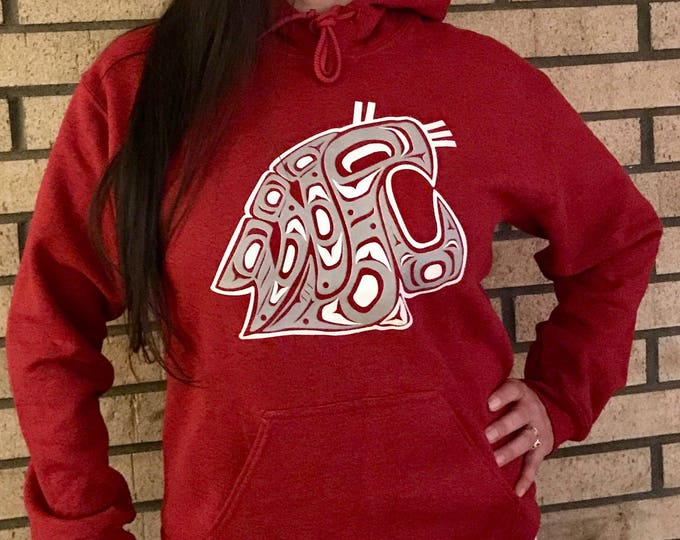 NW Coast Haida WSU design on crimson red hoodies and tees