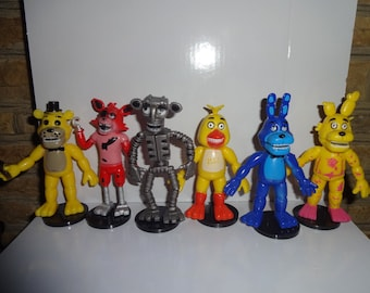 Mister A Gift FNAF Five Nights at Freddy's set of 6 Large Plastic Cake Toppers