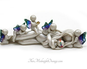 Rainbow Baby Blessing - new baby after multiple losses - made to order with mother or both parents - you choose wing colors
