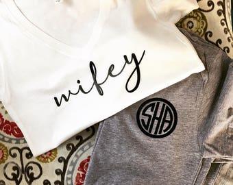 Wifey shirt , wifey T-shirt , wife Shirt , Engaged Shirt , Fiance shirt , Engagement gifts , Bachelorette Party Shirt, morning after wedding