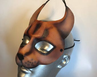 Leather Cat Mask - Caracal or Lynx