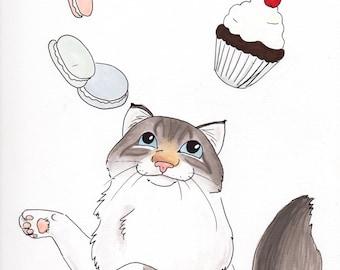 Custom Cat Portrait   Color Pet Portrait in Marker   Cute Cat Portrait Disney Style