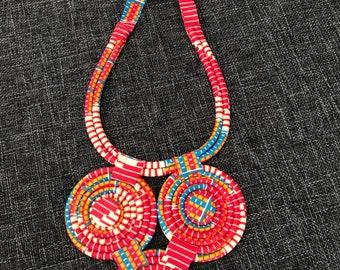 African fabric bib necklace