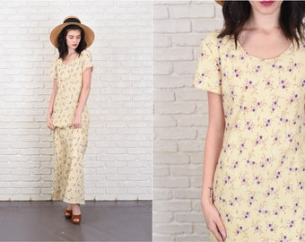 Vintage 90s Maxi Dress Pale Yellow + Purple Flower Print Short Sleeve Small S 11103