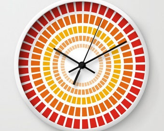 Red orange geometric wall clock,large round clock,decorative clock,abstract wall art,modern clock,unique kitchen wall hanging,home decor