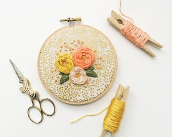 Embroidery Hoop Wall Art - Hand Embroidery - Embroidery Art - Modern Embroidery - Embroidered Home Decor - Nursery Decor - Floral Embroidery