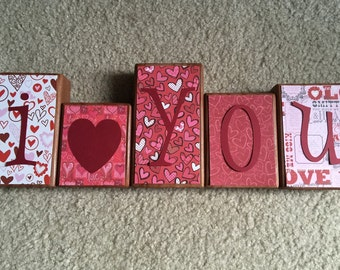Valentine's Day blocks - i love you